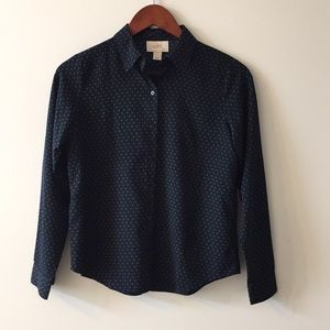 Navy dotted button up blouse by LOFT XXSP
